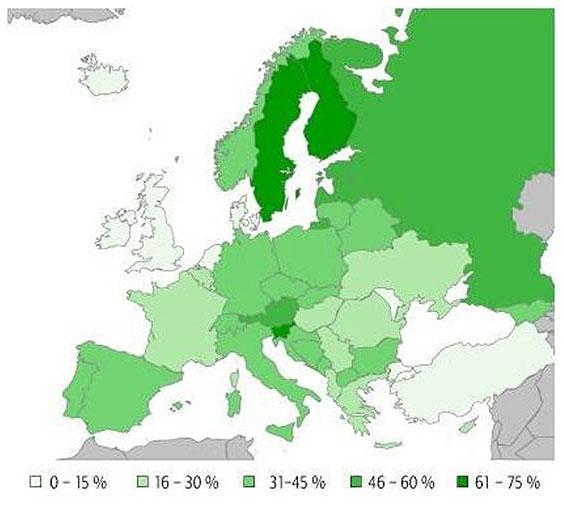 Distribuzione della quantità di legno in Europa